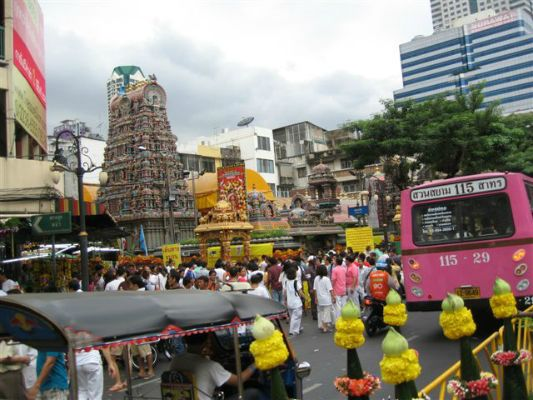 Bob's neighborhood in Bangkok where a Hindu festival was in full swing.  Love the pink bus.
