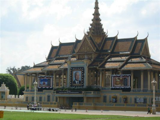 The royal palace in Phnom Penh where King Sihanouk was lying in state.