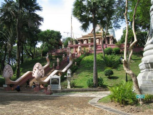 The temple on a hill for which the city of Phnom Penh is named.
